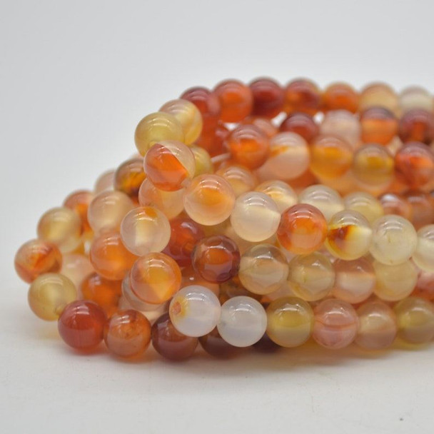 "Large Hole (2mm) Beads - Natural Orange Carnelian Agate Semi-precious Gemstone Round Beads - 8mm - 15.5"" strand"