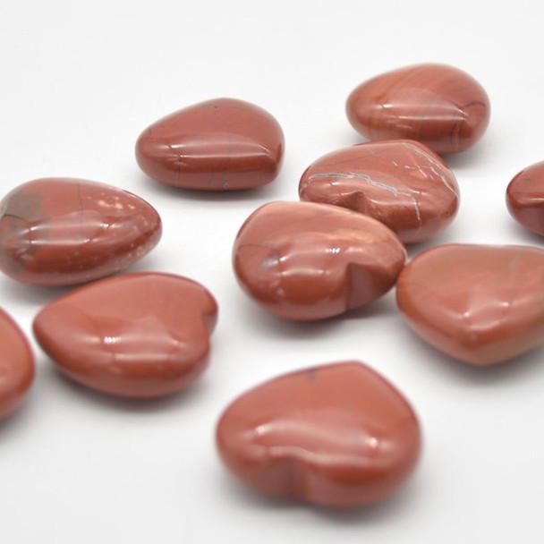 Natural Red Jasper Gemstone Heart - 1 count - 3cm - 18 grams
