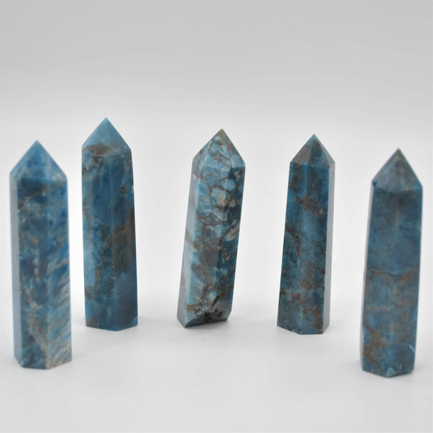 Natural Blue Apatite Gemstone Point / Tower / Wand  - 1 Count - 8cm - 9cm