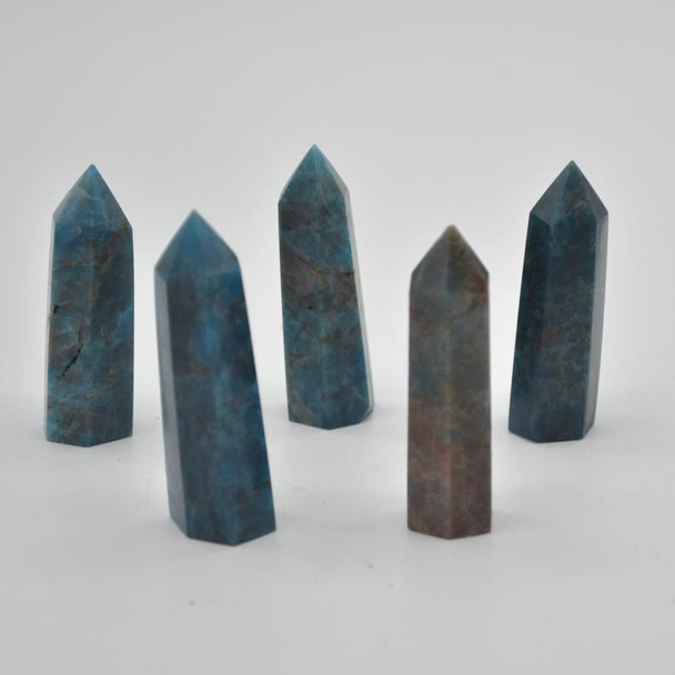 Natural Blue Apatite Gemstone Point / Tower / Wand  - 1 Count - 5cm - 6cm