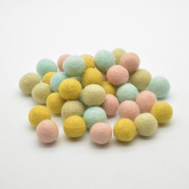 100% Wool Felt Balls - approx 2.2cm - Light Spring Garden Colours - 40 Count