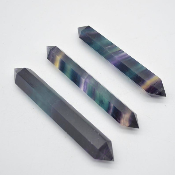 Rainbow Fluorite Double Terminated Point / Tower / Wand - 1 Count - approx 11cm - 12cm