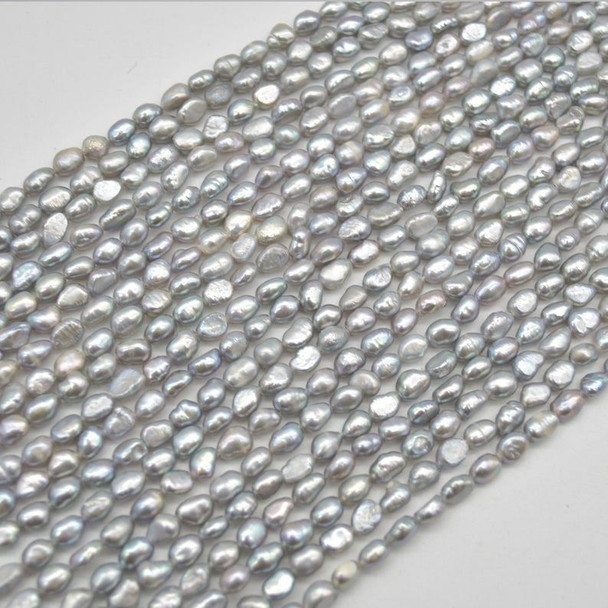 """High Quality Grade A Natural Freshwater Baroque Nugget Pearl Beads - Dyed - Grey - 5mm - 6mm - 15"""" strand"""