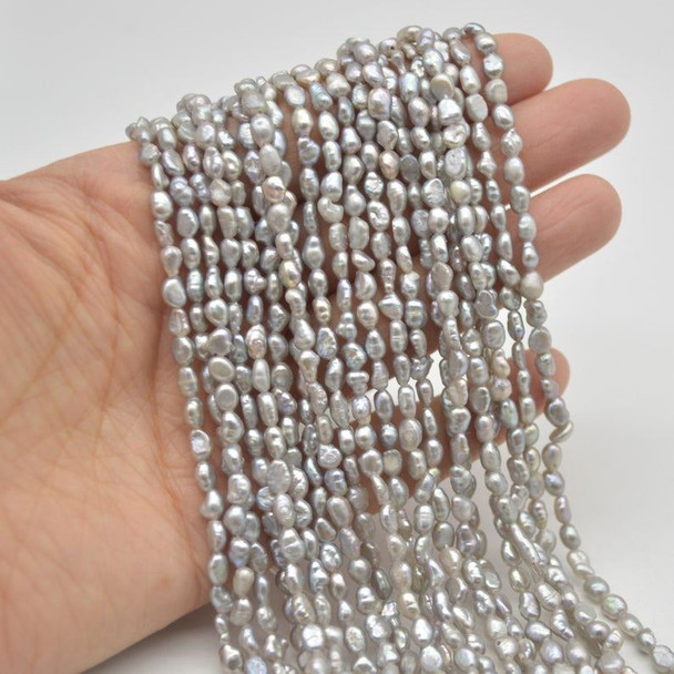 """High Quality Grade A Natural Freshwater Baroque Nugget Pearl Beads - Dyed - Grey - 3mm - 4mm - 15"""" strand"""