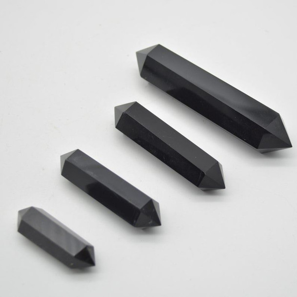 Natural Black Obsidian Gemstone Double Terminated Point Wand  - 1 Count