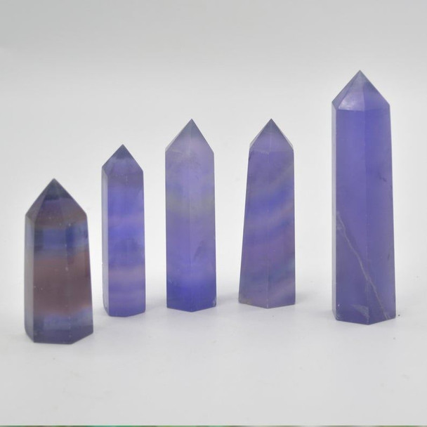 Natural Blue Purple Fluorite Semi-precious Gemstone Point / Tower / Wand  - 1 Count