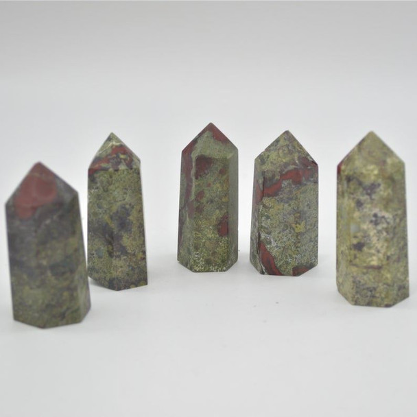 Natural Dragon Blood Jasper Semi-precious Gemstone Point / Tower / Wand  - 1 Count