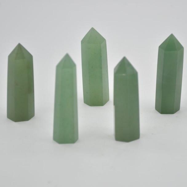 Natural Green Aventurine Semi-precious Gemstone Point / Tower / Wand  - 1 Count