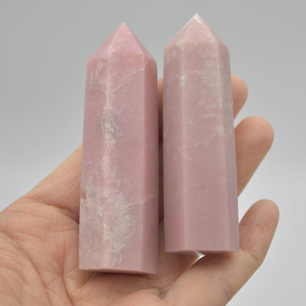Natural Pink Opal Semi-precious Gemstone Point / Tower / Wand  - 1 Count
