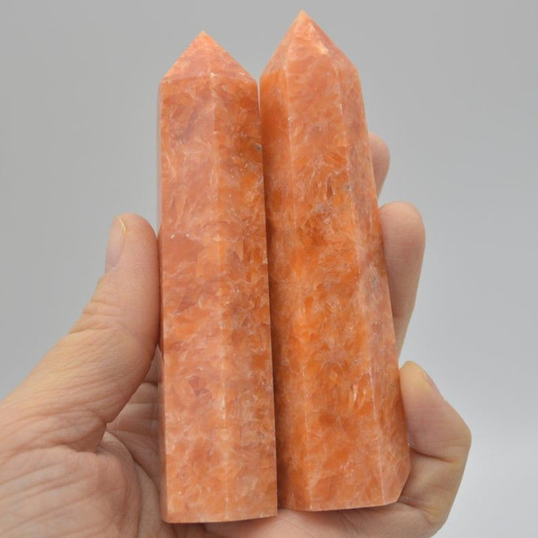 Natural Orange Calcite Semi-precious Gemstone Point / Tower / Wand  - 1 Count