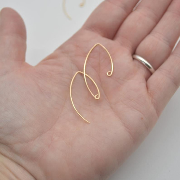 14K Gold Filled Findings - V-Shaped Earring Wire- 0.76mm x 33mm - 2 or 6 Count - Made in USA