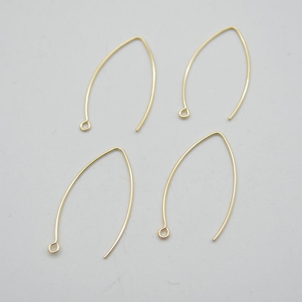 14K Gold Filled Findings - V-Shaped Earring Wire- 0.76mm x 32mm - 2 or 6 Count - Made in USA