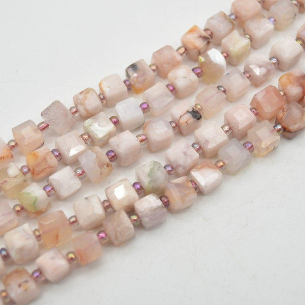 """High Quality Grade A Natural Flower Agate Semi-precious Gemstone FACETED Cube Beads - 7mm - 15.5"""" strand"""