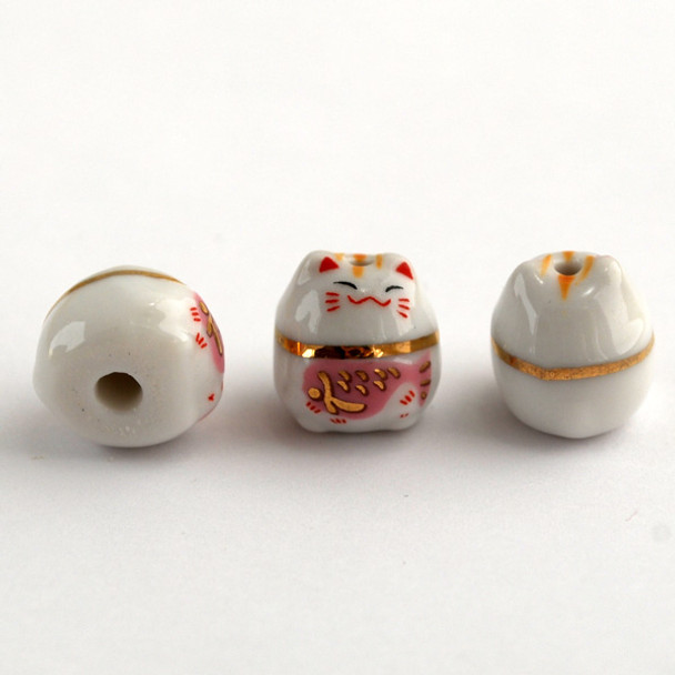 5 Maneki Neko Lucky Cat Porcelain Beads - Feng Shui - Prosperity - Pink Fish