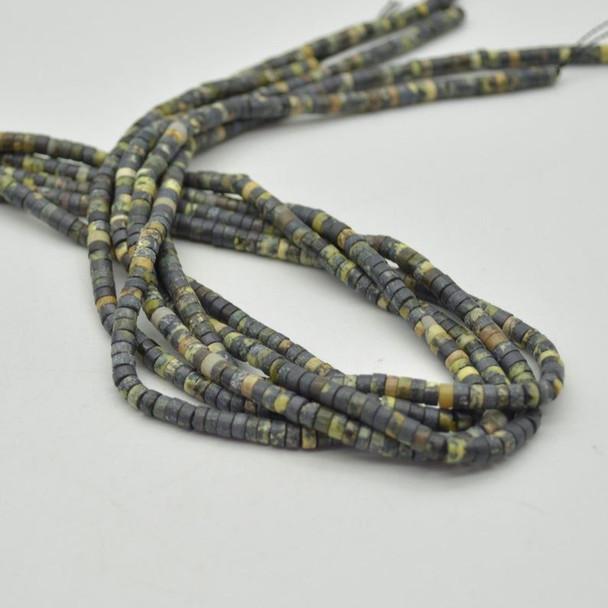 "High Quality Grade A Natural Dark Yellow Line Turquoise Semi-Precious Gemstone Flat Heishi Rondelle / Disc Beads - 4mm x 2mm - 15.5"""