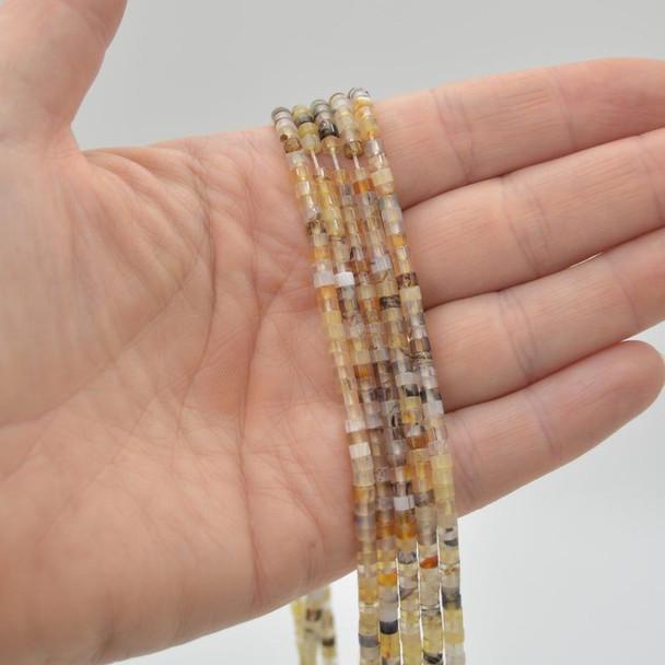 "High Quality Grade A Natural Montana Agate Semi-Precious Gemstone Flat Heishi Rondelle / Disc Beads - 3mm x 2mm - 15.5"" strand"