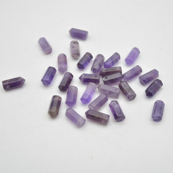 High Quality Grade A Natural Amethyst Semi-Precious Gemstone SINGLE Point Pendant Beads -  1.2cm, 1.5cm - 1 or 5 count