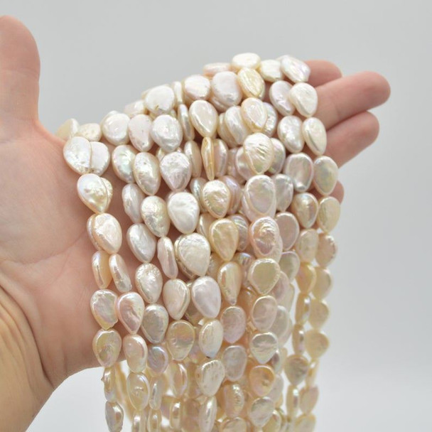 """High Quality Grade A Natural White Freshwater Raindrop / Teardrop Pearl Beads - Iridescent Rainbow Hue - 11mm x 14mm - 17mm - 15"""" strand"""