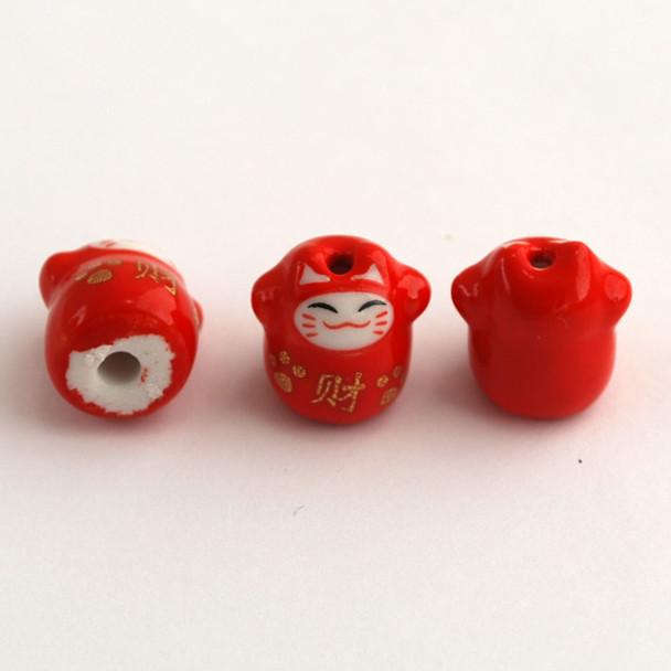 5 Maneki Neko Lucky Cat Porcelain Beads - Feng Shui - Wealth - Red