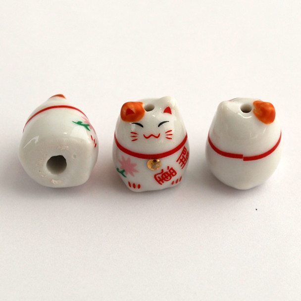 Maneki Neko Lucky Cat Porcelain Bead - Feng Shui - Good Luck