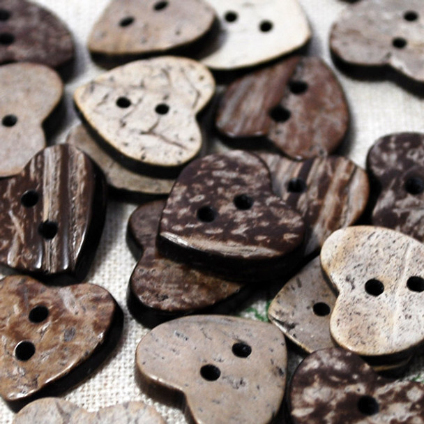 100 Coconut Shell Buttons - Hearts - 18mm