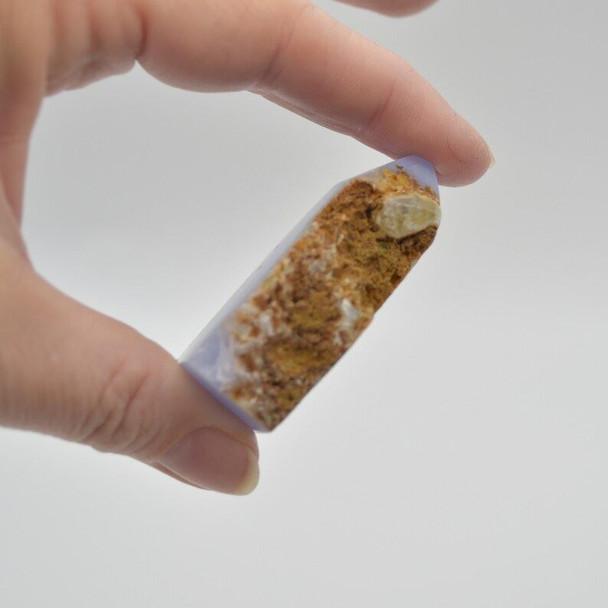 Natural Blue Lace Agate Semi-precious Gemstone Slice - 1 count - 5cm x 4cm x 1.6cm - 66 grams - #01