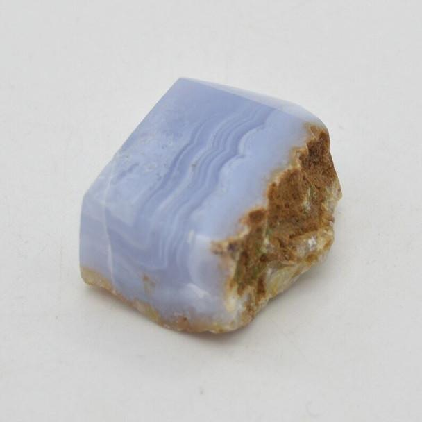 Natural Blue Lace Agate Semi-precious Gemstone Slice - 1 count - 5cm x 3.8cm x 2.2cm - 69 grams - #03