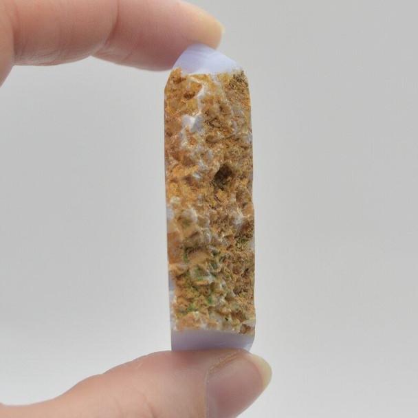 Natural Blue Lace Agate Semi-precious Gemstone Slice - 1 count - 5cm x 4.5cm x 1.2cm - 52 grams - #05