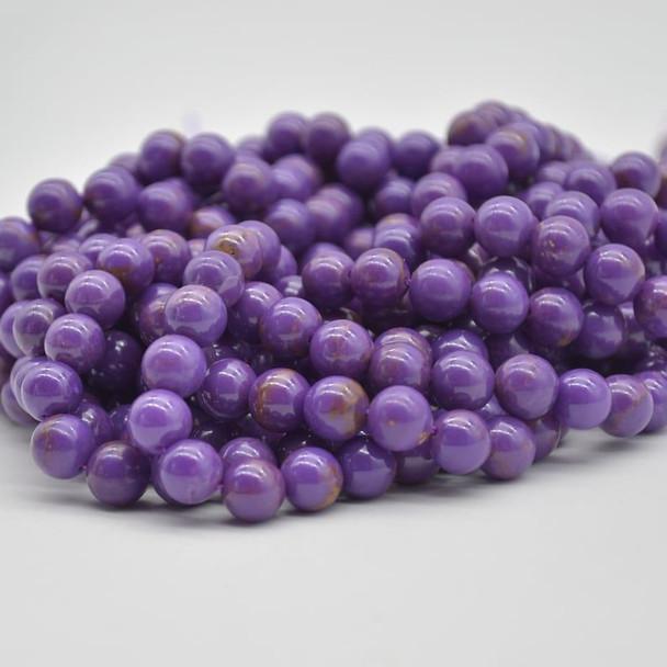 "High Quality Grade A+ Natural Phosphosiderite (dark purple) Semi-precious Gemstone Round Beads - 4mm, 6mm, 8mm - 15.5"" strand"