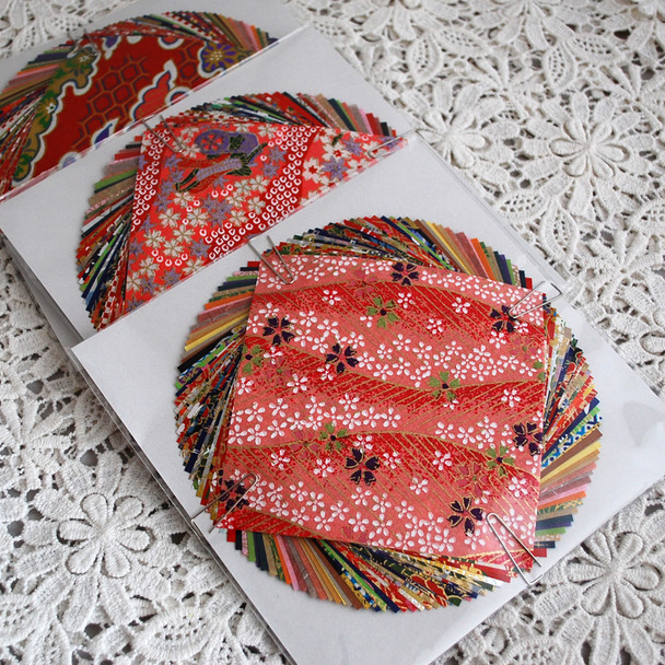 Japanese Handcrafted Yuzen Washi Origami Paper Pack -  40 Assorted Sheets (20 Handcrafted Yuzen and 20 Plain Washi Paper) - 10cm