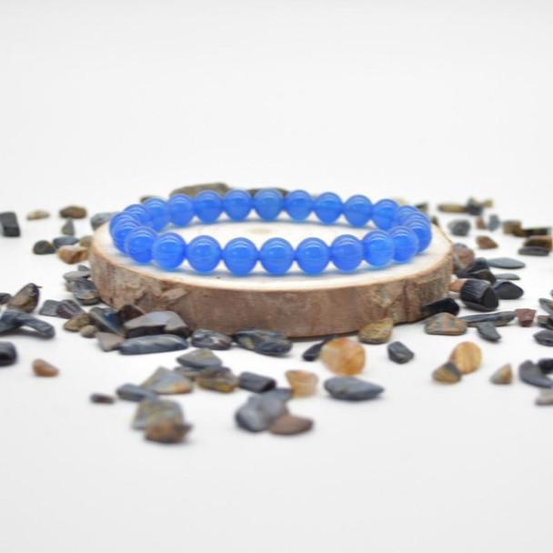 "Blue Agate Gemstone Round Beads Sample strand / Bracelet - 8mm - 7.5"""