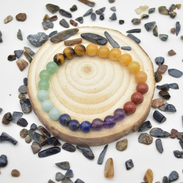 "7 Chakra Gemstone Round Beads Sample strand / Bracelet - 8mm - 7.5"" - Set 01"