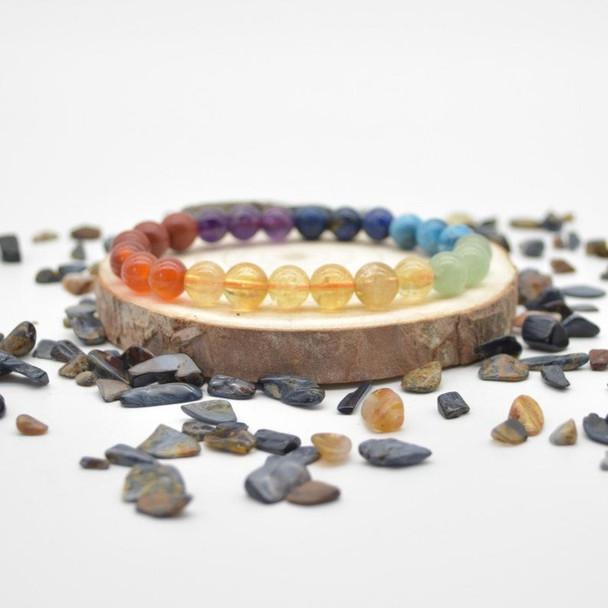 "7 Chakra Gemstone Round Beads Sample strand / Bracelet - 8mm - 7.5"" - Set 02"