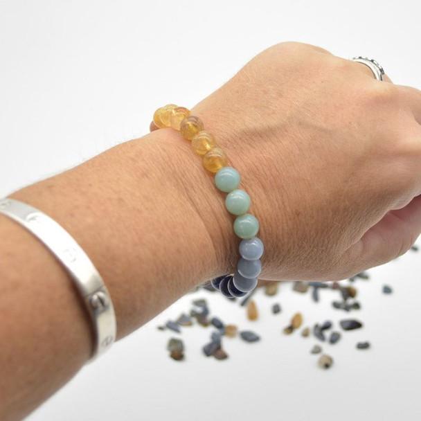 "7 Chakra Gemstone Round Beads Sample strand / Bracelet - 8mm - 7.5"" - Set 03"