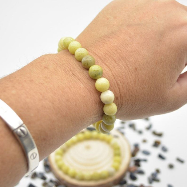 """Lemon Jasper Gemstone Round Beads Sample strand / Bracelet - 8mm - 7.5"""""""