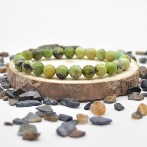 """Chrysoprase Gemstone Round Beads Sample strand / Bracelet - 8mm - 7.5"""""""
