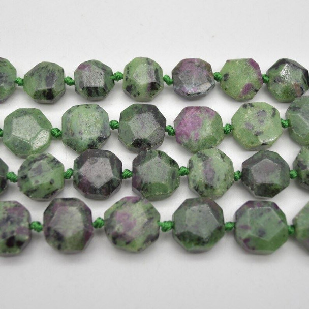 """High Quality Grade A Natural Ruby Zoisite Semi-precious Gemstone Faceted Square Pendants / Beads - 14mm - 15mm - 15.5"""" strand"""