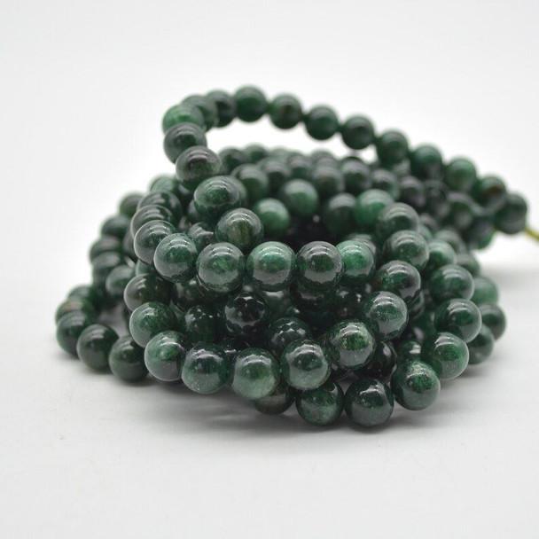 "High Quality Natural Brazilian Lepidolite (Green) Semi-precious Gemstone Round Beads - 8mm size - 15.5"" strand"