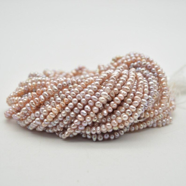 """High Quality Grade A Natural Freshwater Potato Round Pearl Beads - Purple -  3mm - 3.5mm -  14"""" strand"""