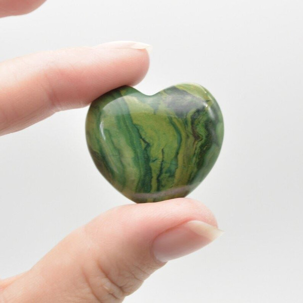Natural African Jade Gemstone Heart - 1 count - 3cm - 14 grams