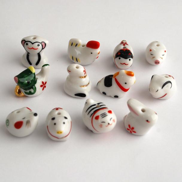 Chinese Horoscope Zodiac 12 Animals Porcelain Beads
