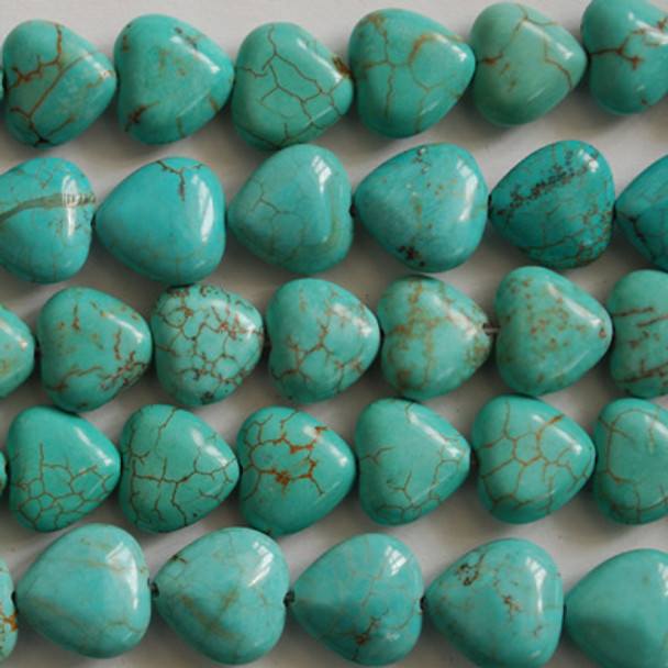 10 Turquoise (dyed) Heart Beads 12mm x12mm