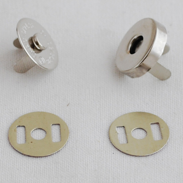 50 Sets Magnetic Snap Button Bag Clasp - 18mm - Silver