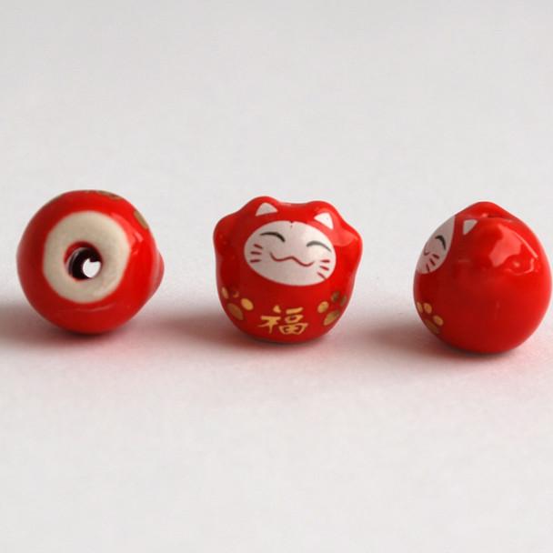 5 Maneki Neko Lucky Cat Porcelain Bead - Feng Shui - Fortune - Red