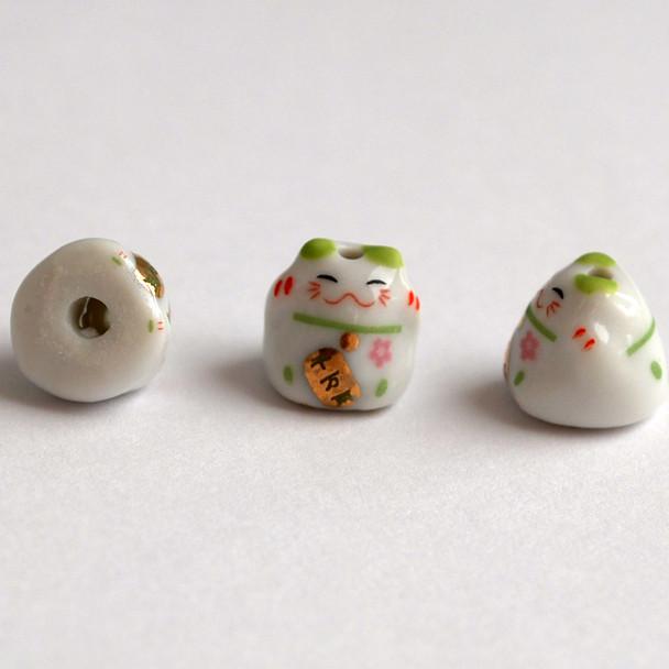 Maneki Neko Lucky Cat Porcelain Bead - Feng Shui - Wealth - Green