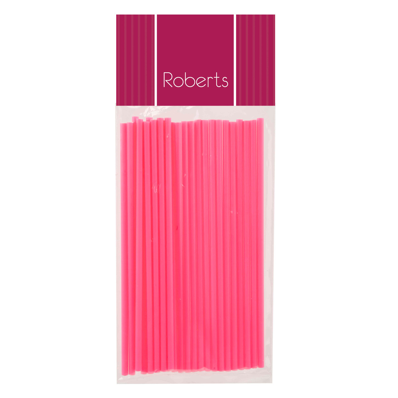 150 mm Fluoro Pink  Smooth LONG Lollypop Sticks Pkt 25