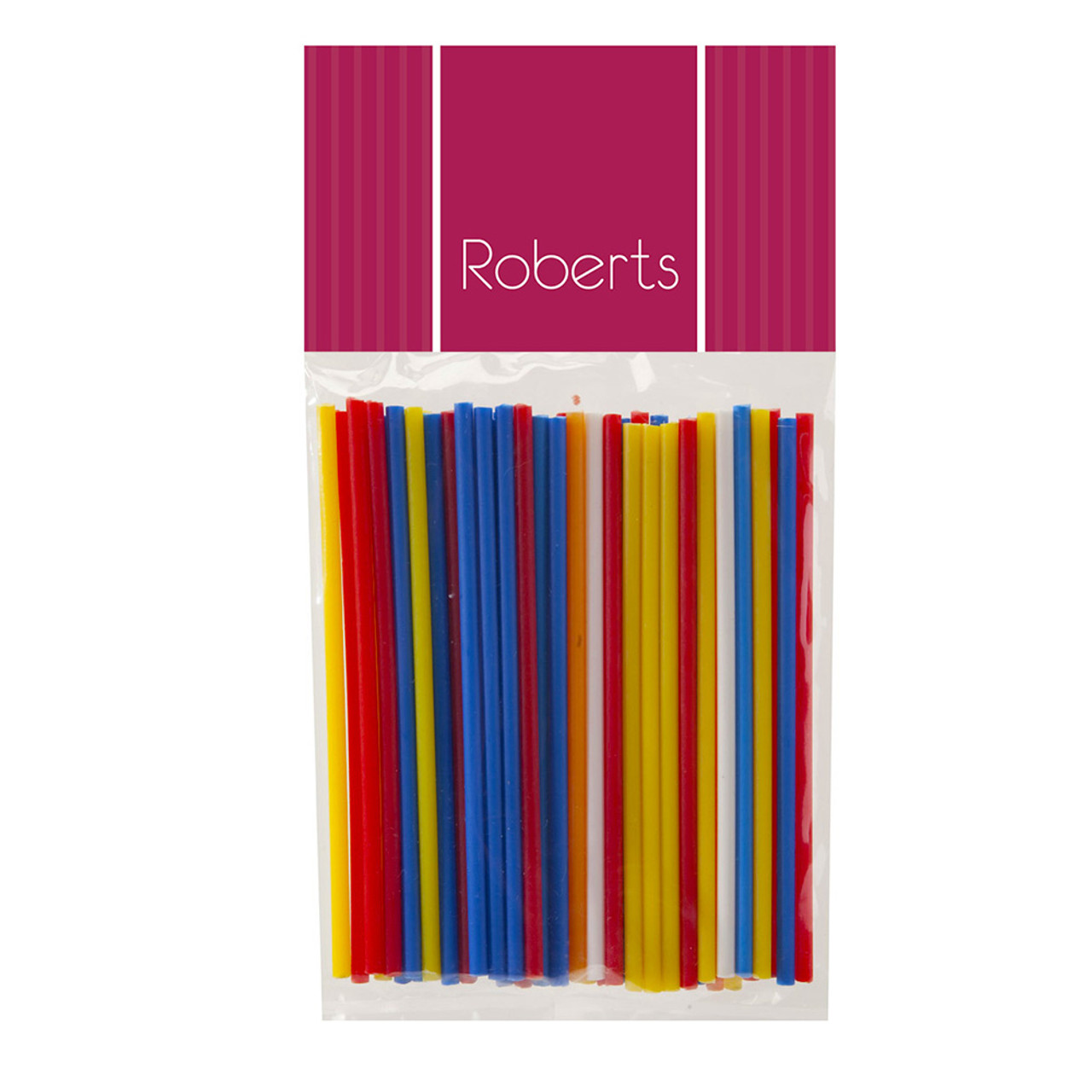 100 m Assorted Colours Smooth Lollypop Sticks Pkt 50