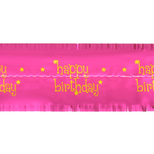 Cake Frill Wrap Happy Birthday - Hot Pink - 104 x 8.2 cms