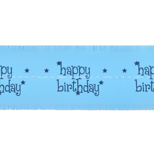Cake Frill Wrap Happy Birthday - Light Blue- 104 x 8.2 cms