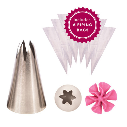 1M Piping Nozzle 6 Point Open Star + Bonus Piping Bags